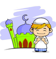moslem boy with mosque background vector image
