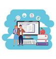 online education millennial students splash frame vector image vector image