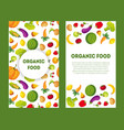 organic food banners set with place for text farm vector image vector image