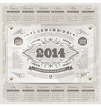 Ornate vintage calendar of 2014 year vector image vector image
