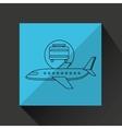 plane white sun symbol travel suitcase design vector image vector image