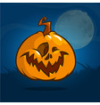 pumpkin for halloween on dark background vector image