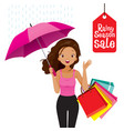 rainy season sale dark skin woman under umbrella vector image vector image