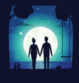 romantic couple at night dating people and moon vector image