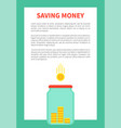 saving money and glass bottle for coins holding vector image