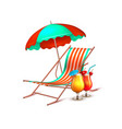 summer vacation cocktail umbrella lounger vector image vector image