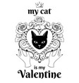 valentine card concept black cat facein vector image vector image