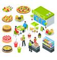 vegetarian healthy cafe isometric set vector image vector image