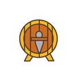 wooden barrel oktoberfest icon line filled vector image vector image