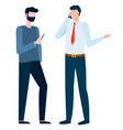 worker phoning employee with smartphone vector image vector image