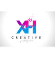 xh x h letter logo with shattered broken blue vector image vector image