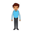 young man cartoon standing character smiling vector image