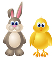 Cartoon rabbit and chicken character vector image