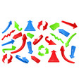 multicolored 3d glossy arrows pointing signs vector image