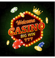 welcome casino concept light bulbs vintage neon vector image