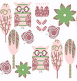 abstract adorable nature owls seamless pattern it vector image vector image