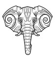 abstract elephant head in techno drawing style vector image vector image