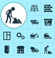 architecture icons set collection of home wall vector image