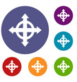 arrows target icons set vector image vector image