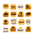 bakery house shop logo food set vector image