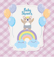 bashower cute bear rainbow clouds balloons vector image vector image