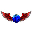 basketball sport emblem with wings vector image