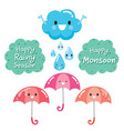 cartoon character of cloud umbrella and raindrop vector image vector image