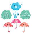 cartoon character of cloud umbrella and raindrop vector image