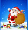 cartoon santa bringing sack in the winter backgrou vector image