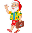 cartoon santa claus on vacation with a suitcase vector image