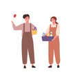 cheerful people cleaning service staff in janitor vector image vector image