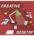 creative desktop with book in form of smartphone vector image vector image