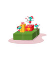 cute and happy mice sittng and standing on gift vector image