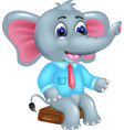 cute elephant cartoon sitting with smile vector image