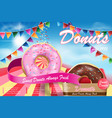 delicious donut ads with flying flavor strawberry vector image vector image