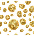 dollar seamless pattern gold coins vector image
