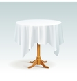 Empty Wood Round Table with Tablecloth vector image vector image
