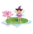 Fairy and lotus vector image vector image