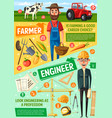 farmer building engineer or architect professions vector image vector image