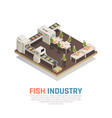fish factory isometric background vector image vector image