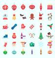 flat christmas new year xmas icons vector image vector image