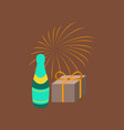 flat on background of fireworks champagne gift vector image vector image