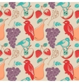 Fruits and birds retro seamless pattern vector image vector image