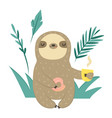 funny sloth with doughnut and cup coffee vector image vector image