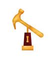 golden hammer award trophy statuette cartoon vector image