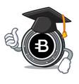 graduation bytecoin coin character cartoon vector image vector image