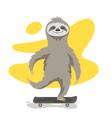 happy cute sloth on skateboard Sloth riding vector image vector image