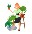 house florist woman flowers indoor floriculture vector image