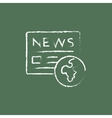 International newspaper icon drawn in chalk vector image vector image