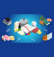 isometric thematic literature concept vector image